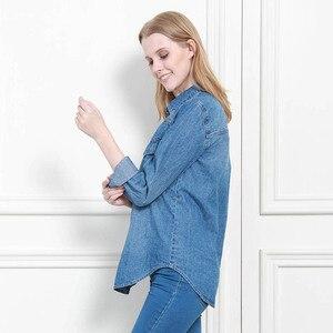 Image 4 - 11.11 סתיו חורף נשים ג ינס חולצה בסיסית רופף מזדמן ארוך שרוול עם 2 כיסי 100% כותנה שטף כחול נשי חולצה למעלה