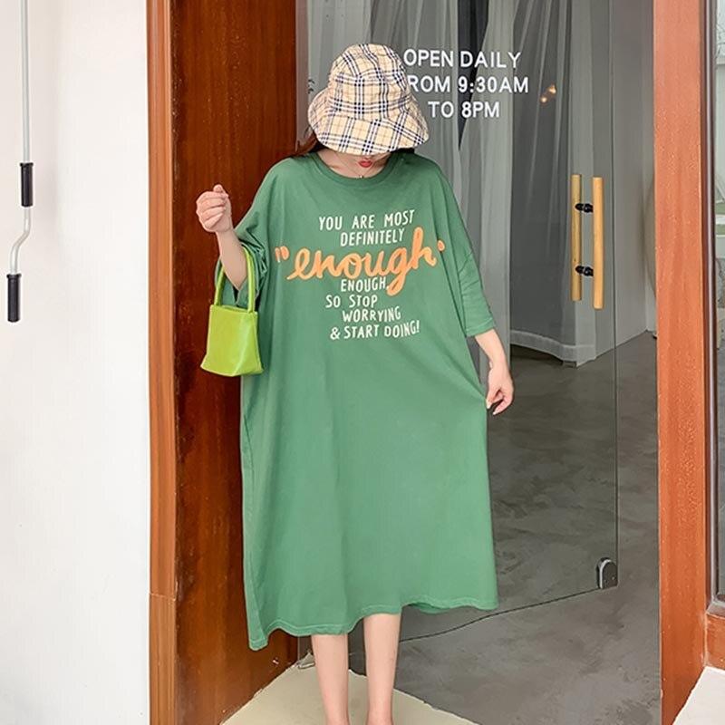 Женское платье пуловер Kawaii, хлопковое платье большого размера с принтом в виде букв в Корейском стиле, модель 2020 года, 4XL, 5XL, 6XL Платья      АлиЭкспресс