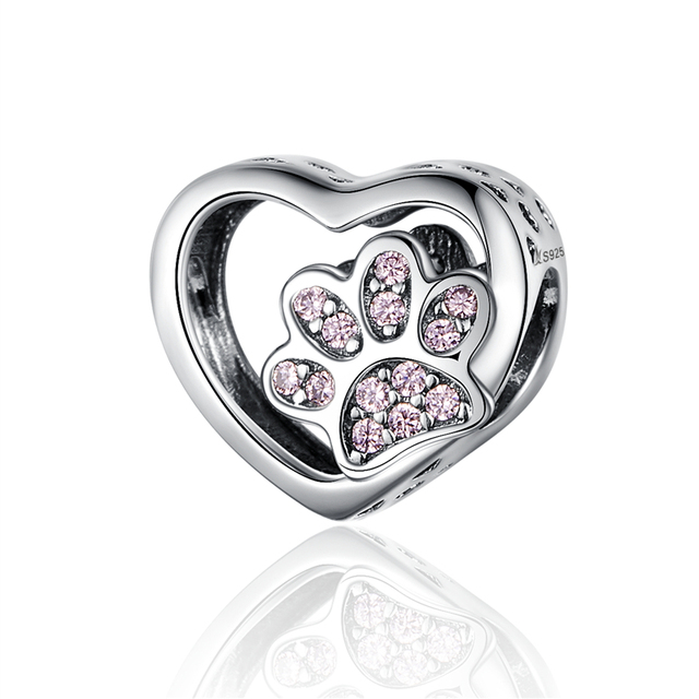 WOSTU 100% Authentic 925 Sterling Silver Heart Shape Charm Beads Fit Brand Charm Bracelet DIY Original Silver Jewelry 5