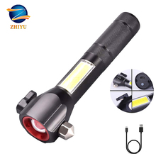 ZHIYU Multifunctional Tactical flashlight LED with Cutter USB Charging Red Light Camping Telescopic Zoom Emergency Working Lamp