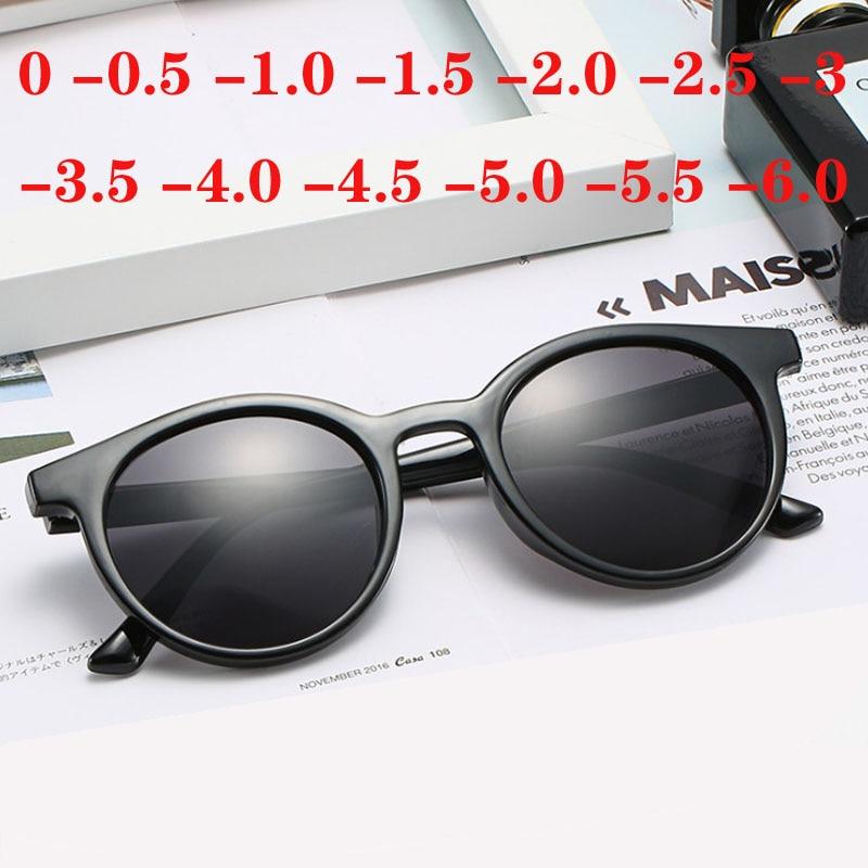 Anti-UV Round Finished Myopia Sunglasses Women Men Short-sighted Eye Glasses 0 -0.5 -1.0 -1.5 -2.0 -2.5 -3.0 -3.5 -4.0 -4.5 -6.0