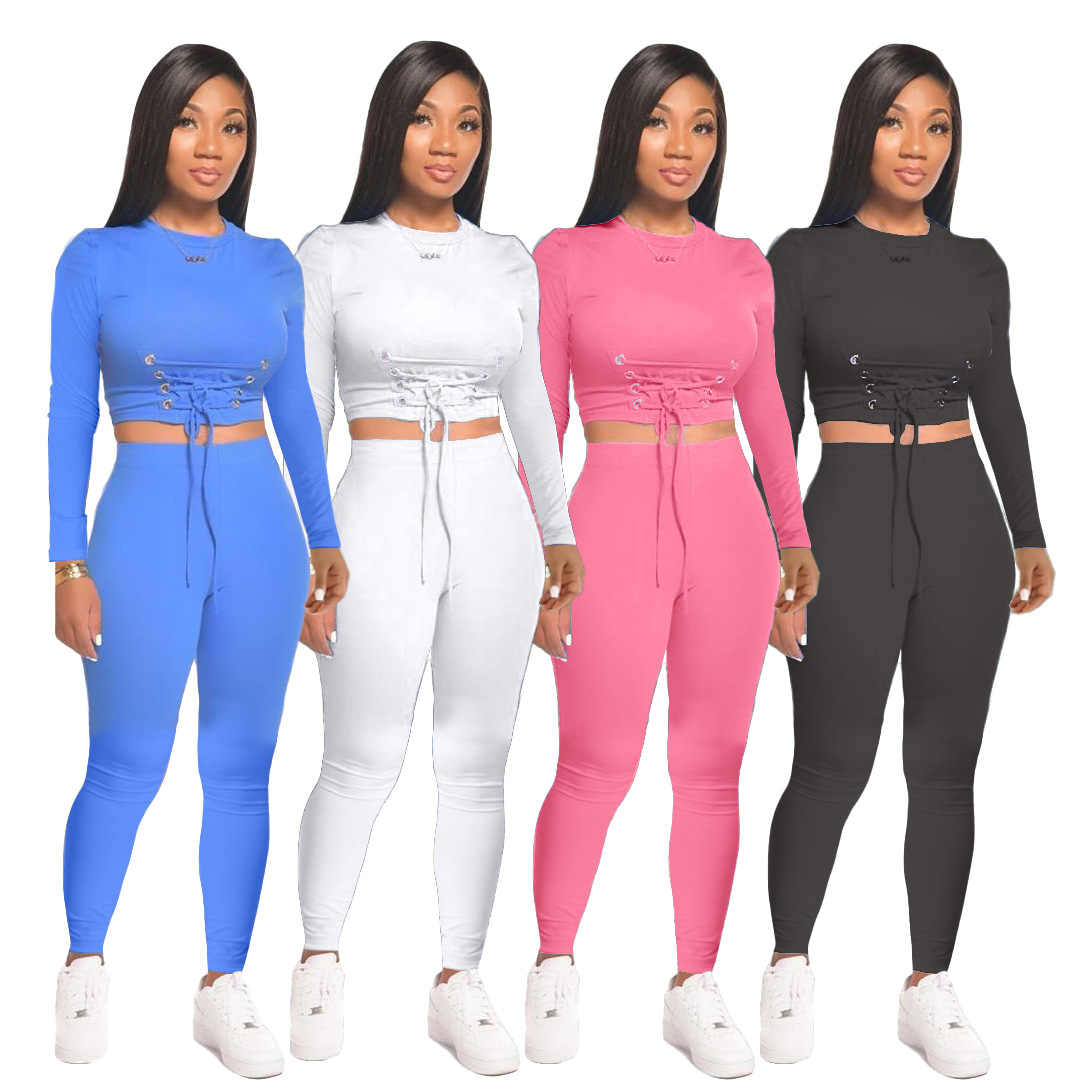 Details about  /Women Sport Fitness 2 Two Piece Set Outfits Long Sleeve Crop Tops and Pants