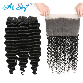 Alisky Hair Peruvian Deep Wave 3 Bundles With 360 Lace Frontal Closure Remy Hair Weave Natural Black Hair Extensions image
