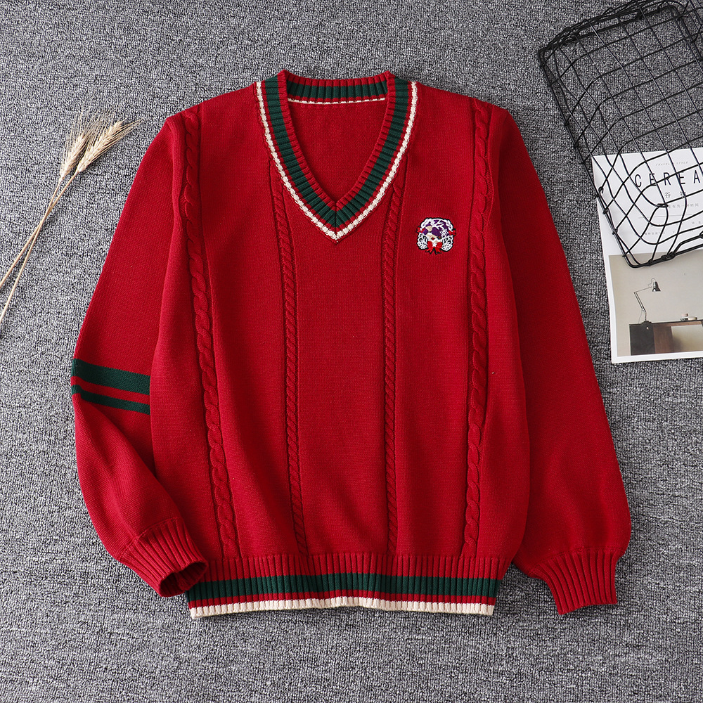 2020 New Christmas Sweater Japanese Jk Uniform Loose Sweater Pullover Long Sleeve V-neck Soft Girl Couple Autumn Winter Top S-XL