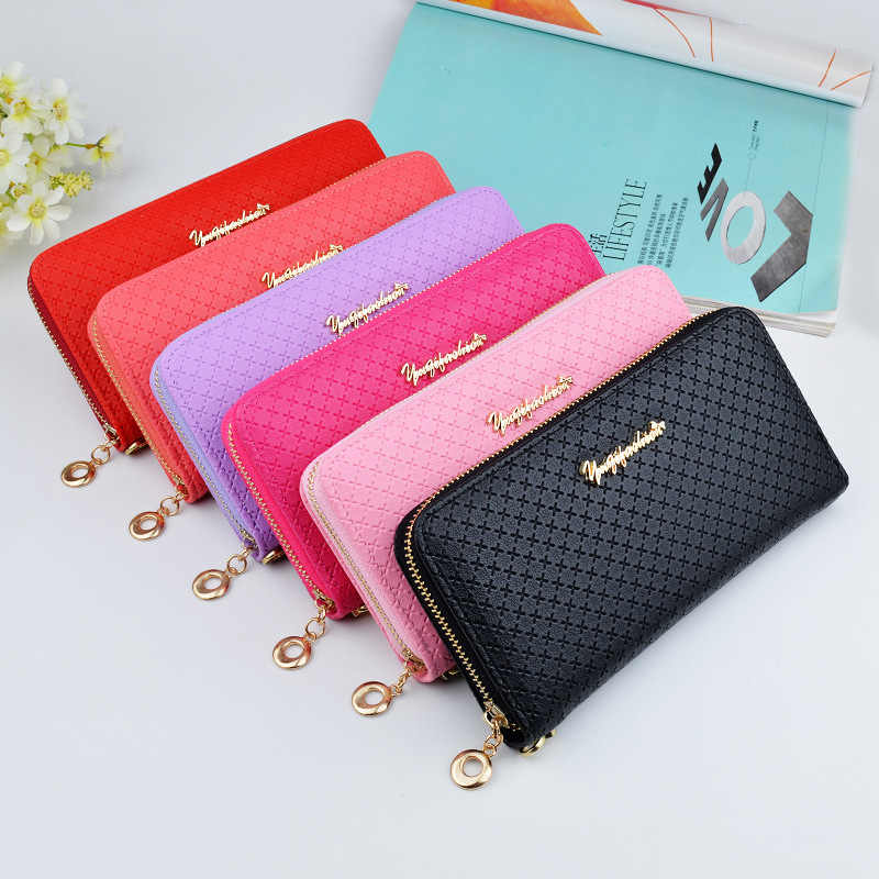 Ladies Zipper Purse Large Capacity Practical Hand Wallet Woman PU Leather Fashion Female Long Section Wallet