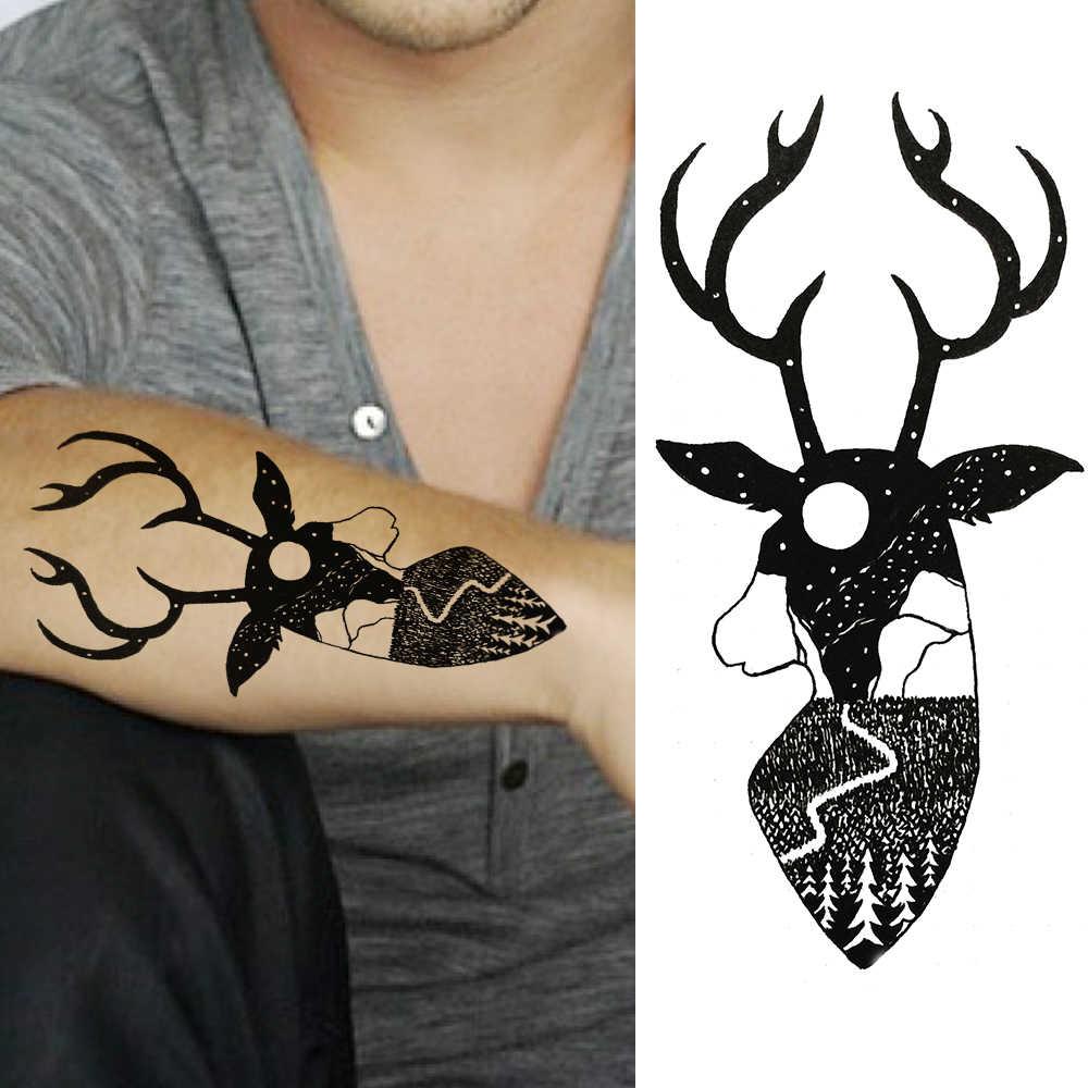 Черный цветок Временные татуировки стикер геометрические поддельные карандаш эскиз Роза тату для женский боди-арт тату Декор Наклейка для праздника