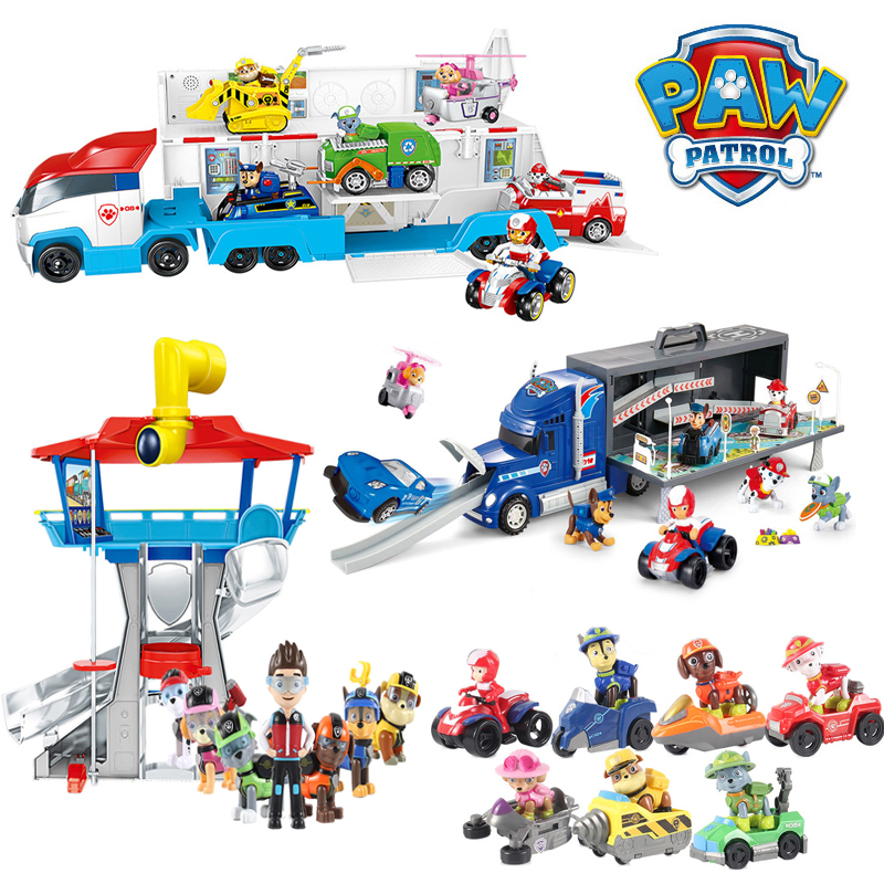 Paw Patrol Puppy Toy Set Ryder Rescue Bus Observatory Patrulla Canina PVC Action Figures Toys For Children Birthday Gift 2A33