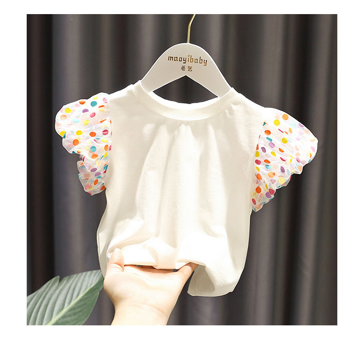 2020 Baby Girl Fashion Clothing  Cotton Puff Sleeve Dot T-shirt  Clothes  Children Party Birthday Wear