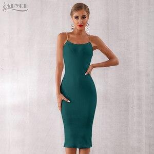Image 1 - Adyce 2020 nouveau été femmes moulante robe de pansement Sexy chaîne Spaghetti sangle Club robe célébrité soirée robes de soirée Vestidos