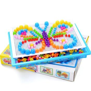 296 шт., головоломка для детей, набор для ногтей с грибами, коробка, мозаичная картина, Монтессори, Обучающие 3d пазлы, игрушки для детей, игра в подарок