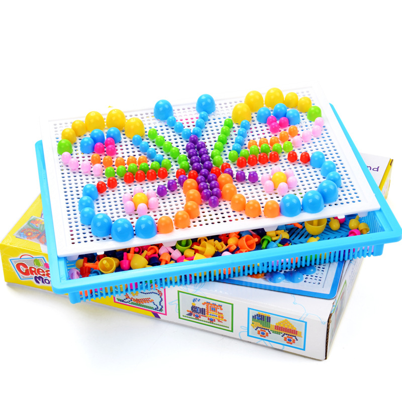 296PCS Children Jigsaw Puzzle Mushroom Nail Kit Box Mosaic Picture Montessori Educational 3d Puzzles Toys For Kids Game Gift