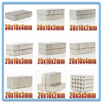 20Pcs N35 Neodymium Magnet Block 20X10X2 20X10X3 20X10X4 20X10X5 25X10X3 30X10X2 30x10x4 20X5X2 mm Block Bar Magnets Rare Earth