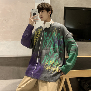 Image 4 - 2019 Winter Mens Doodle Printing Coats Woolen Cashmere Sweaters Casual Pullover Holes Long Sleeve Round Neck Knitting M XL