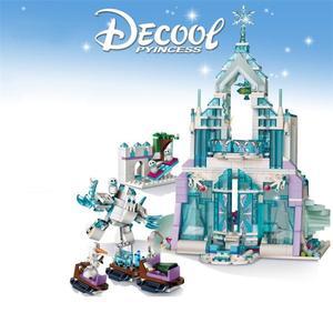 Technic nouvelle série de princesse Elsa & Anna magique château de glace palais modèle blocs de construction briques avec noël enfants jouets cadeau(China)