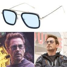 Fashion Avengers Tony Stark Flight Style Man Sunglasses Men Square luxury Brand Design Sun Glasses Oculos Retro male iron 3