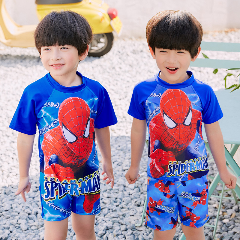 Boy CHILDREN'S Swimwear Cartoon Spider-Man One-piece Short Sleeve Sun-resistant Big Boy Students 4-14-Year-Old Quick-Dry Swimwea
