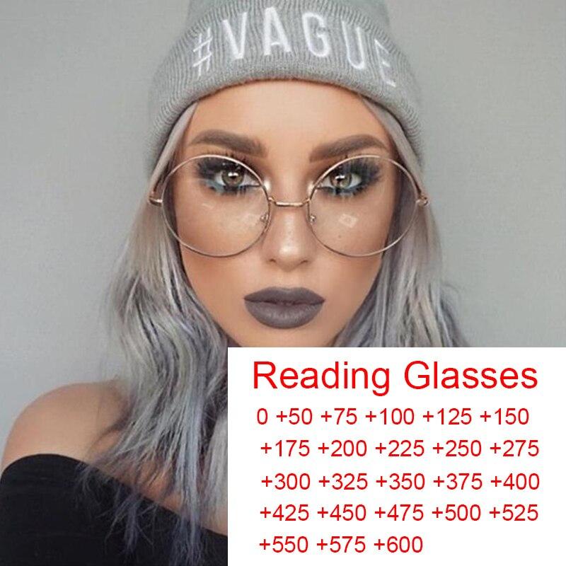 Anti luz azul hyperopia óculos de leitura unisex computador óculos quadro transparente grandes óculos redondos retro okulary 0 a + 6.0