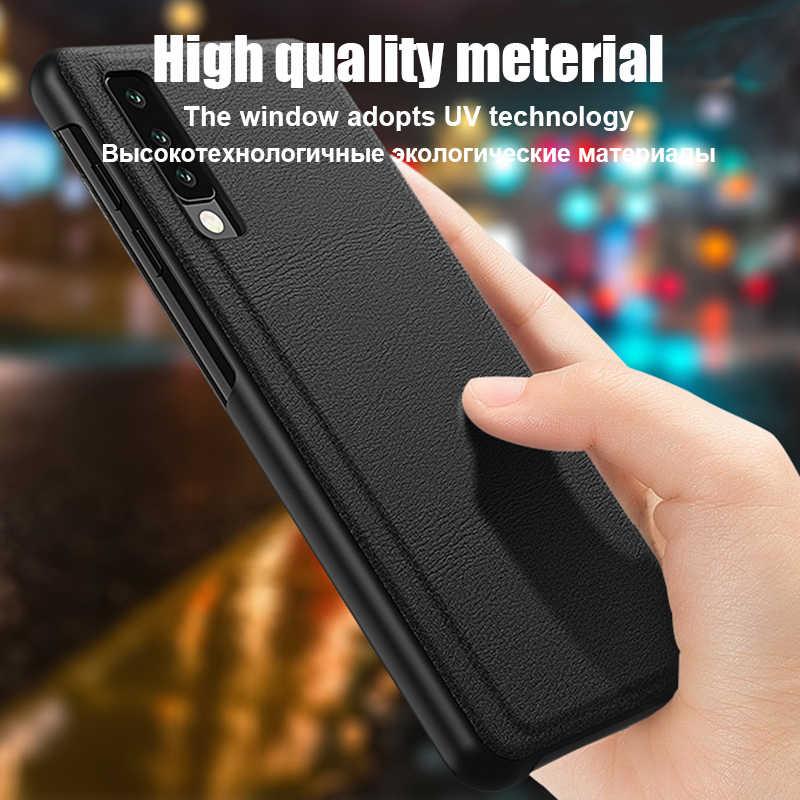 Smart View Telefoon Case Voor Huawei P30 P20 Mate 20 30 10 9 Pro Lite P10 Plus Nova 3 Y6 y7 P Smart Z 2018 2019 Lederen Flip Cover