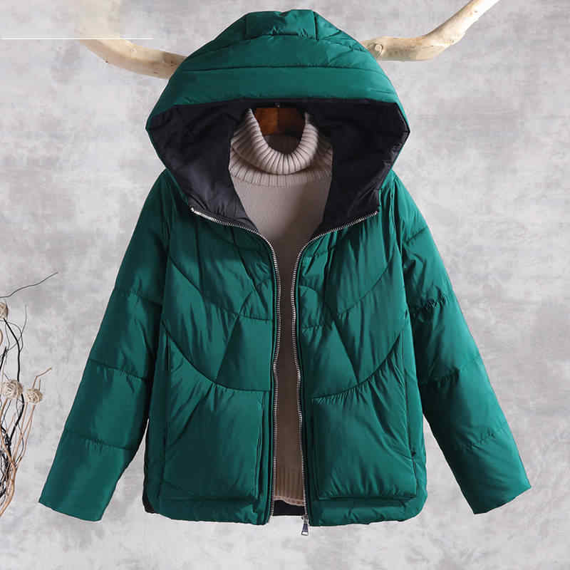 Осенне-зимние теплые толстые пальто женские куртки Новая мода с капюшоном Повседневная хлопковая Парка женская верхняя одежда пальто P130