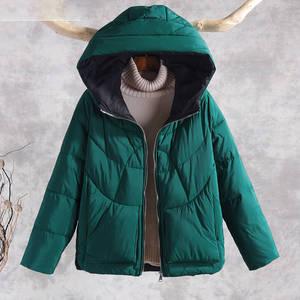 Image 2 - Sonbahar kış sıcak kalın mont kadın ceketler yeni moda kapüşonlu rahat pamuk Parka kadın kabanlar palto P130