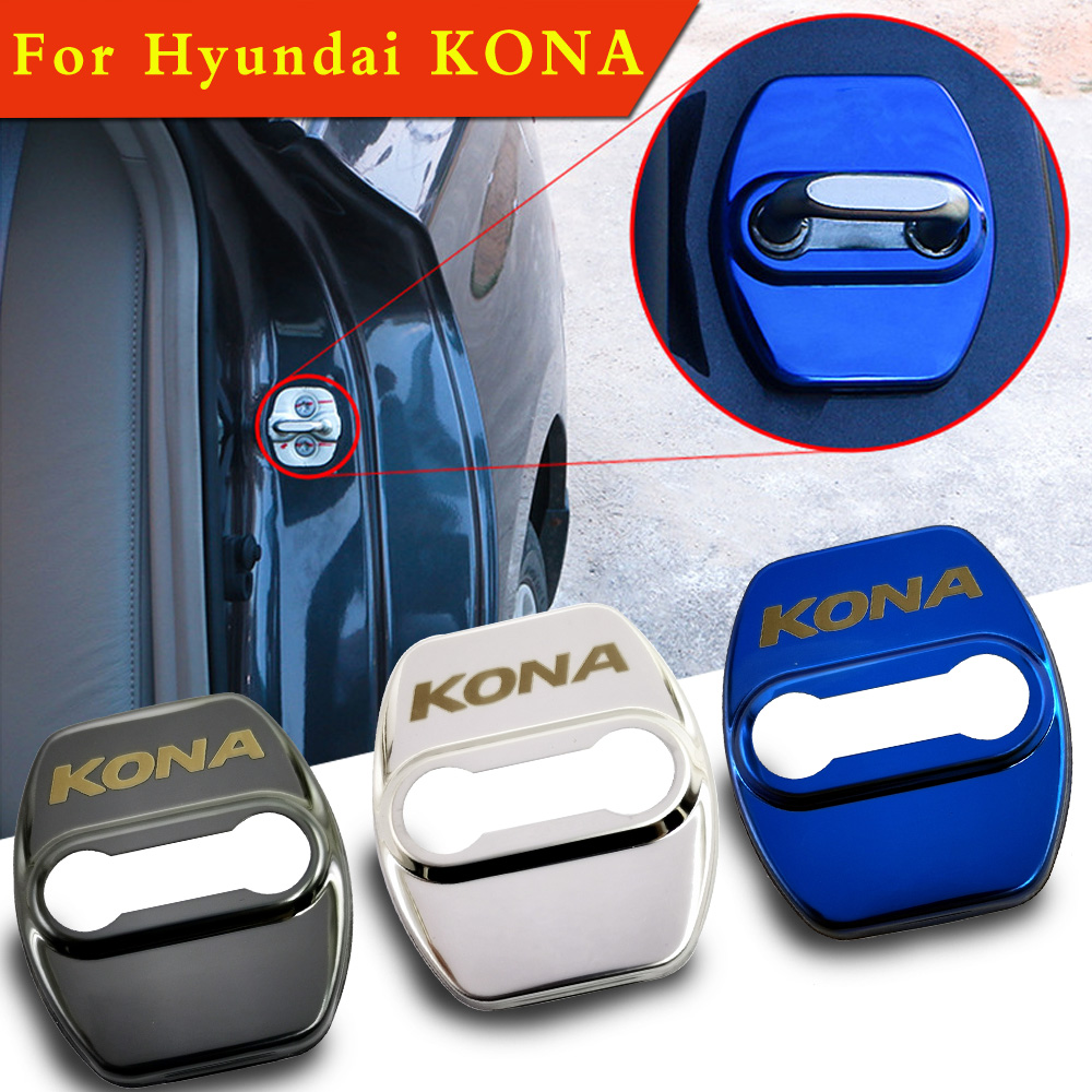 FLYJ 4PCS Car Door Lock  Cover Protect Buckle Cover Car Accessories For Hyundai KONA Car Sticker