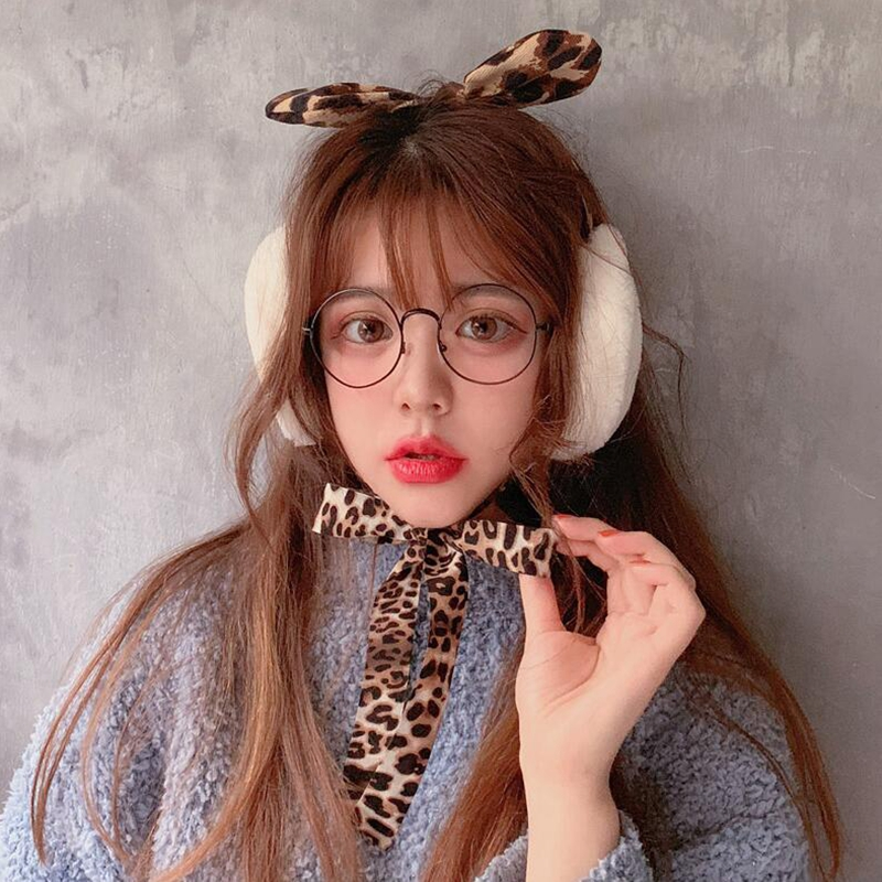 Bow Leopard Earmuffs Female Sexy Temperament Frenulum Vintage Style Autumn Winter Warm Fashion Plush Soft Earmuffs Accessories