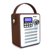 DAB Wood Record Audio Portable Rechargeable Retro Bluetooth Digital Radio Player USB FM Receiver Handsfree MP3 Stereo