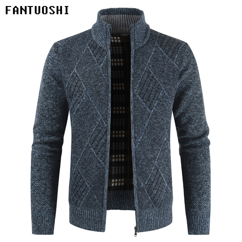 2019 New Long Sleeve Casual Men Sweater Autumn Slim Standing Collar Fashion Jacket With Thicker Zipper Knitted Cardigan Sweater