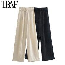 TRAF-pantalones de pierna ancha con bolsillos laterales para Mujer, calzas elegantes con cremallera de cintura alta, Estilo Vintage