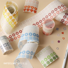 1pc Kawaii Color Geometry Series Washi Masking Tape Release Paper Stickers Scrapbooking Stationery Decorative