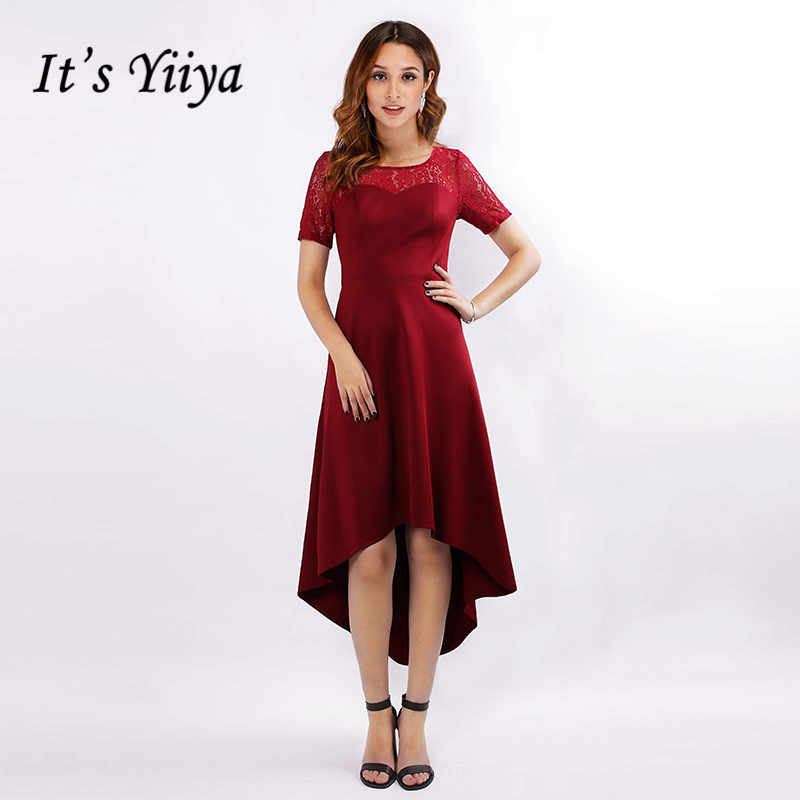 זה Yiiya שמלה לנשף אלגנטי בתוספת גודל בורגונדי שמלות נשים המפלגה לילה תחרה O-צוואר גבוהה נמוך אורך Vestidos דה גאלה C441