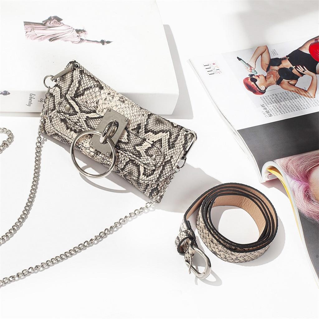 Vintage Snake Waist Bags  Women Waist Pack Serpentine Fanny Pack Leather  Fashion Snake Skin Waist Belt Bolsa Feminina#45