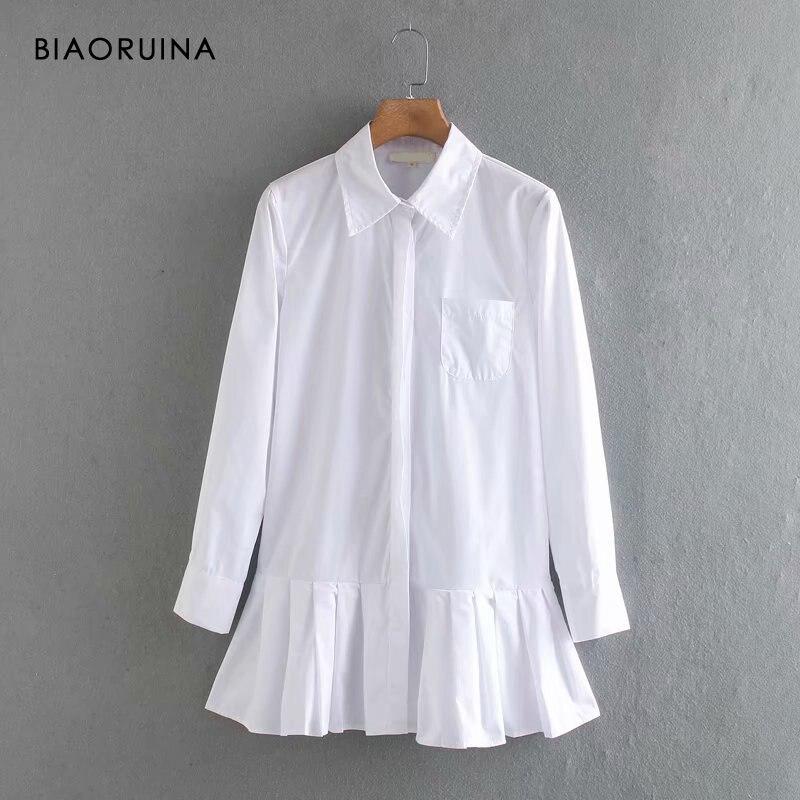 Женское Плиссированное Платье рубашка BIAORUINA, офисное однобортное платье белого цвета в Корейском стиле с отложным воротником, Повседневное платье|Платья|   | АлиЭкспресс