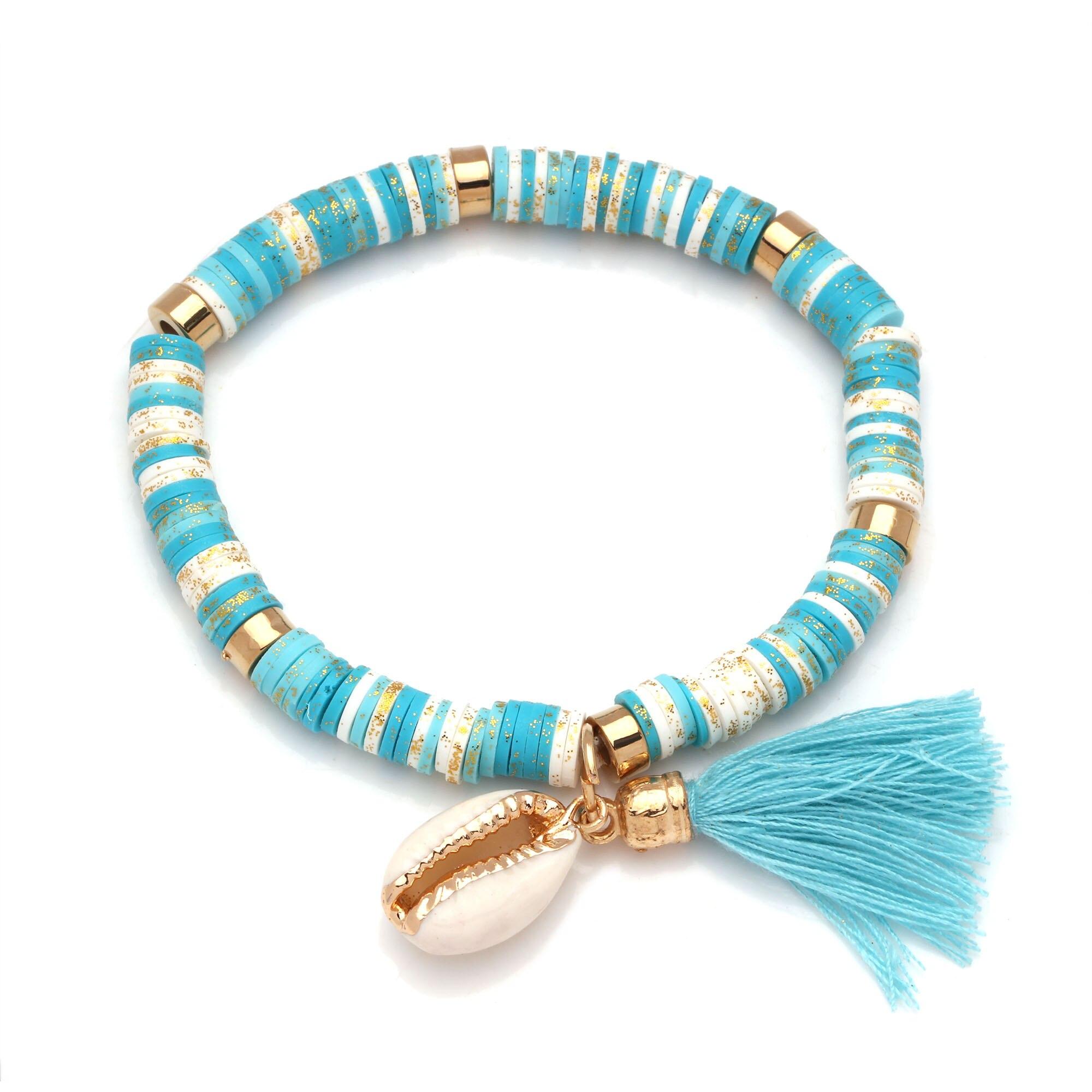 Boho Heishi Beads Cowrie Seashell Tassels Stretch Bracelet Women Men Polymer Clay Pink Red White Green Surf Beach Jewelry Gift