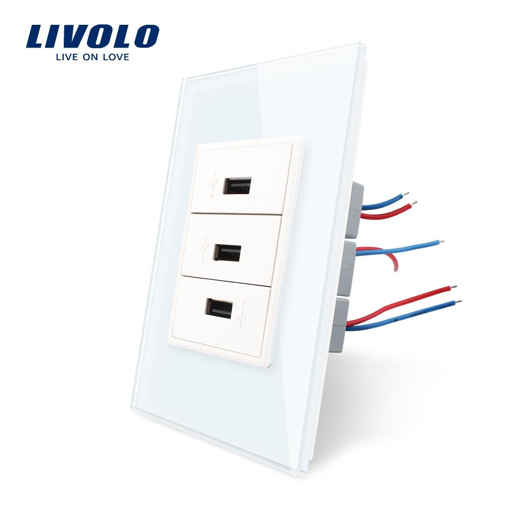 Prise usb Livolo US Standard 3 gangs, panneau en verre cristal, prise de courant murale 110 ~ 250 V, sans logo