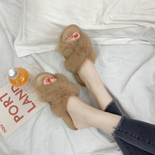 SFIT Flat Fluffy Shoes For WomenWomen Real Fur Slipper Raccoon Furry Fox Slippers Slides Cute Ladies Plush Sandals