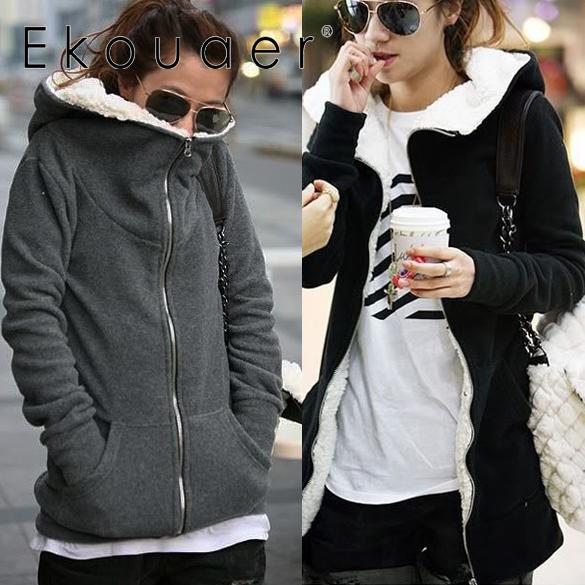 Ekouaer  Autumn Winter Casual Women Long Hoodies Sweatshirt Coat  Zip Up Tops Hoodie Coat Jacket Outerwear