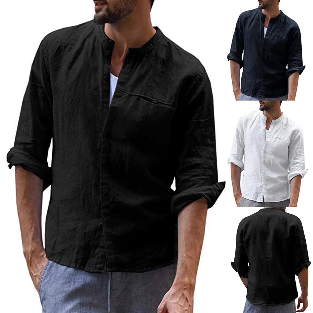 Dropshipping Men's Vintage Casual Pure Color Cotton Linen Long Sleeve Shirts Top Blouse Casual Dress Women Korea Style