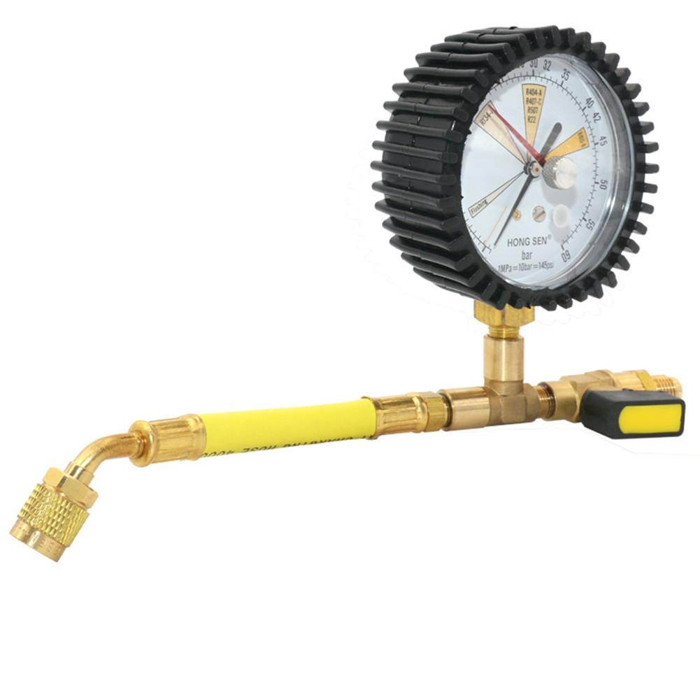 1/4 NPT Air Conditioning Pressure Gauge Refrigeration Pressure Mater Nitrogen Pressure Maintaining Tester Tool -1 To 60Bar