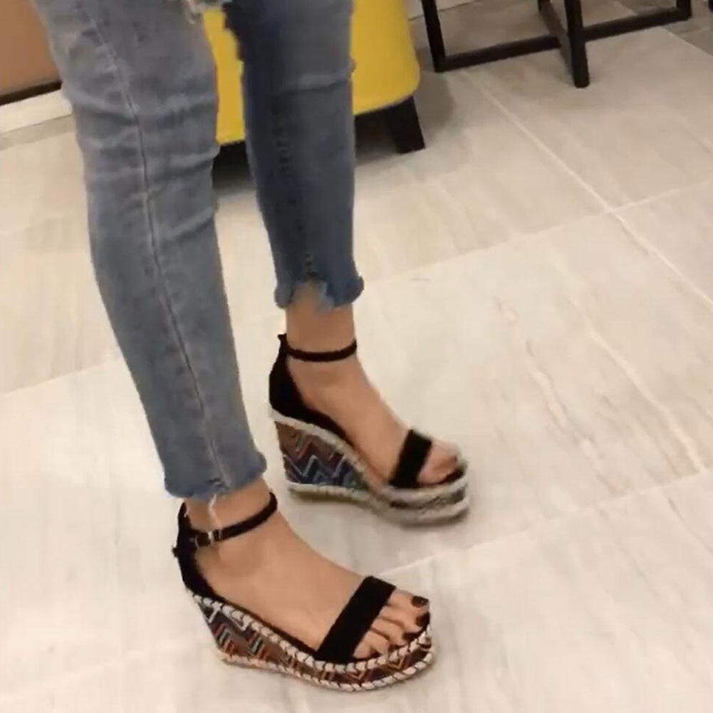 KARINLUNA 2020 Wholesale Bohemia Style Summer Sandals Women Leisure Platform Party Wedges High Heels ankle-strap Shoes Woman