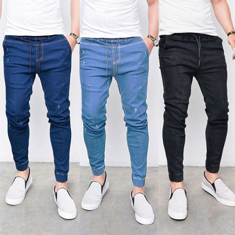 Europe And America 2018 Hot Sales MEN'S Jeans Lace-up Closing Foot Elasticity Jeans Men's
