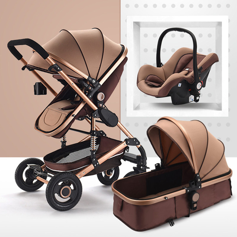 Luxury Multifunctional 3 in 1 Baby Stroller Portable High Landscape Stroller Folding Carriage Red Gold Newborn Baby Stroller image