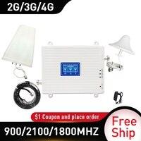 900/1800/2100mhz 4g 부스터 DCS WCDMA LTE GSM 2G 3G 4G 트라이 밴드 모바일 신호 부스터 GSM 셀룰러 리피터 케이블 4g 증폭기