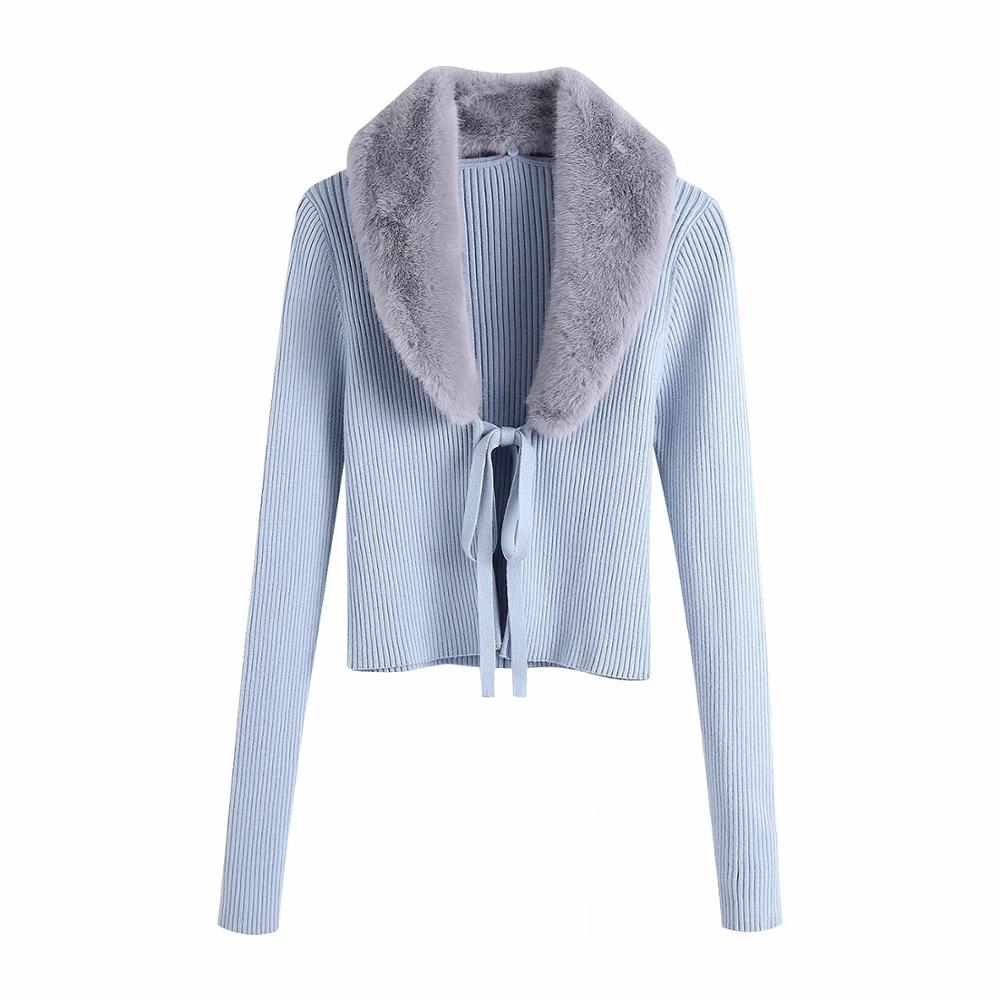Women Fashion Patchwork Faux Fur Knitted Cardigan Sweater Vintage With Tied Female Long Sleeve Outerwear Chic Tops 5