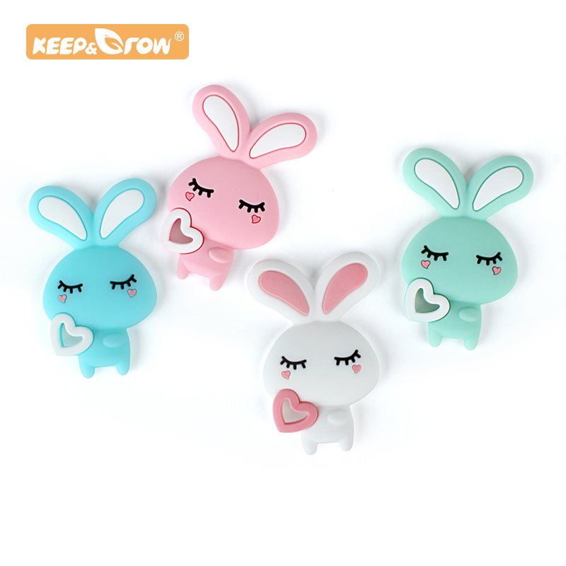 Keep&Grow 1pc Cartoon Rabbit Baby Teeether Animal Beads DIY Rodent Silicone Teething Toy Nursing Gift Accessories