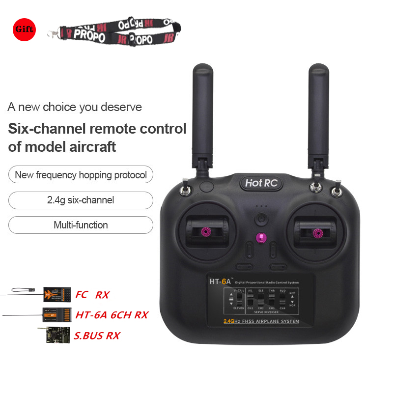 Hotrc HT-6A 2.4G 6CH Remote Controller FHSS & 6CH Receivers Double throttle w/ Box RC Receiver Transmitter For Rc Drone Boat