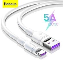 Baseus-Cable USB tipo C 5A para móvil, Cable de datos de carga rápida para Huawei Mate 20 P20 Pro, Xiaomi mi 9 Oneplus 6t 6 USB-C