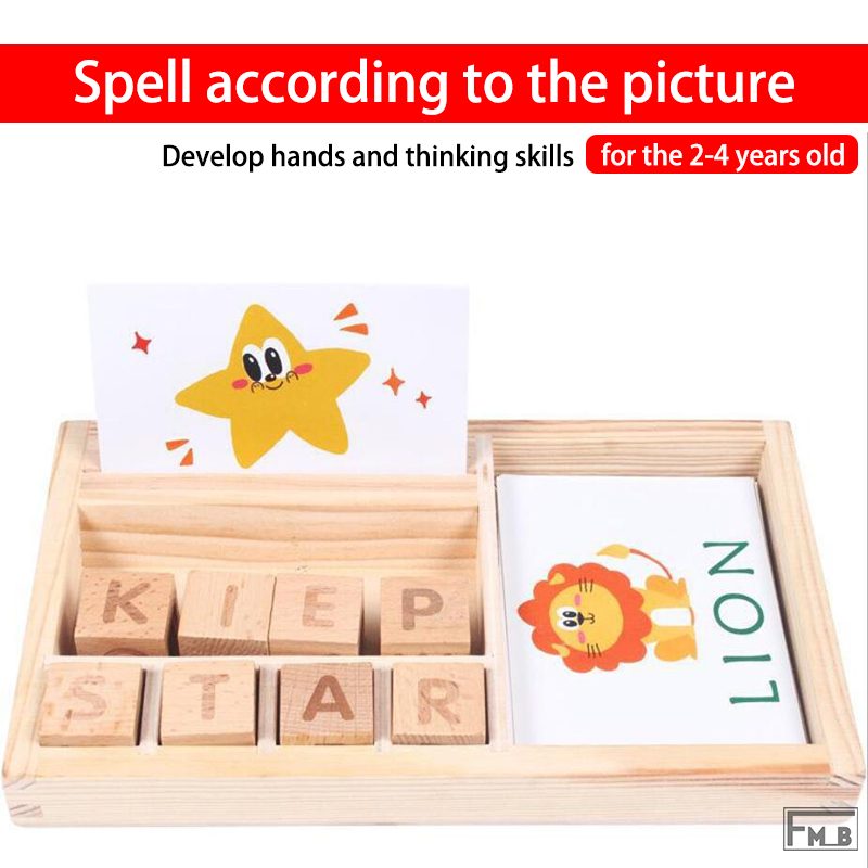 Spelling According To The Pictures Game Early Educational Toys For 2-4 Years Old Cognitive Puzzle Cards Montessori Education Toy