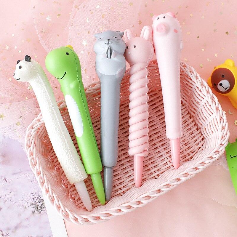 Cute Decompression Gel Pen Creative Pens Kawaii Cartoon Neutral Pens Kids Girls Gifts School Office Supplies Novelty Stationery