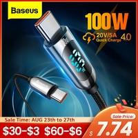 Baseus PD 100W cavo USB C a USB tipo C cavo di ricarica rapida cavo di ricarica USB-C cavo USBC di tipo C per Xiaomi POCO X3 Pro Samsung
